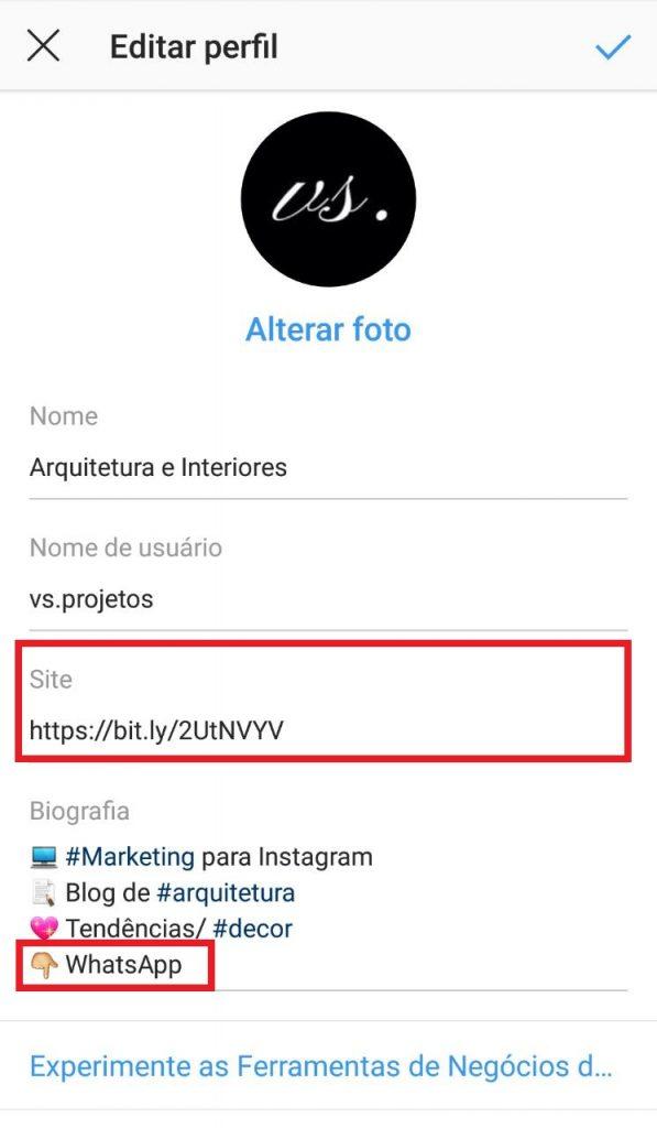 Como colocar o link do WhatsApp no Instagram